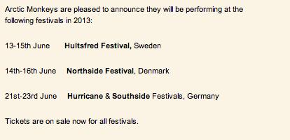 Arctic Monkeys NorthSide Festival